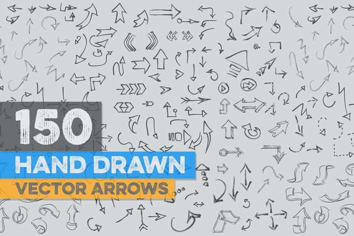 Cover Image For 150 Hand Drawn Vector Arrows