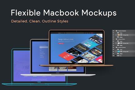 Flexible Macbook Mockups: Detailed, Clean, Outline