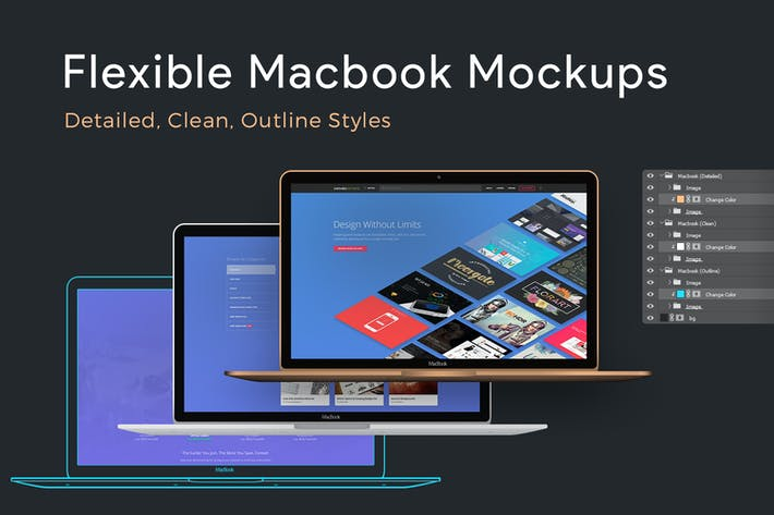 Thumbnail for Flexible Macbook Mockups: Detailed, Clean, Outline
