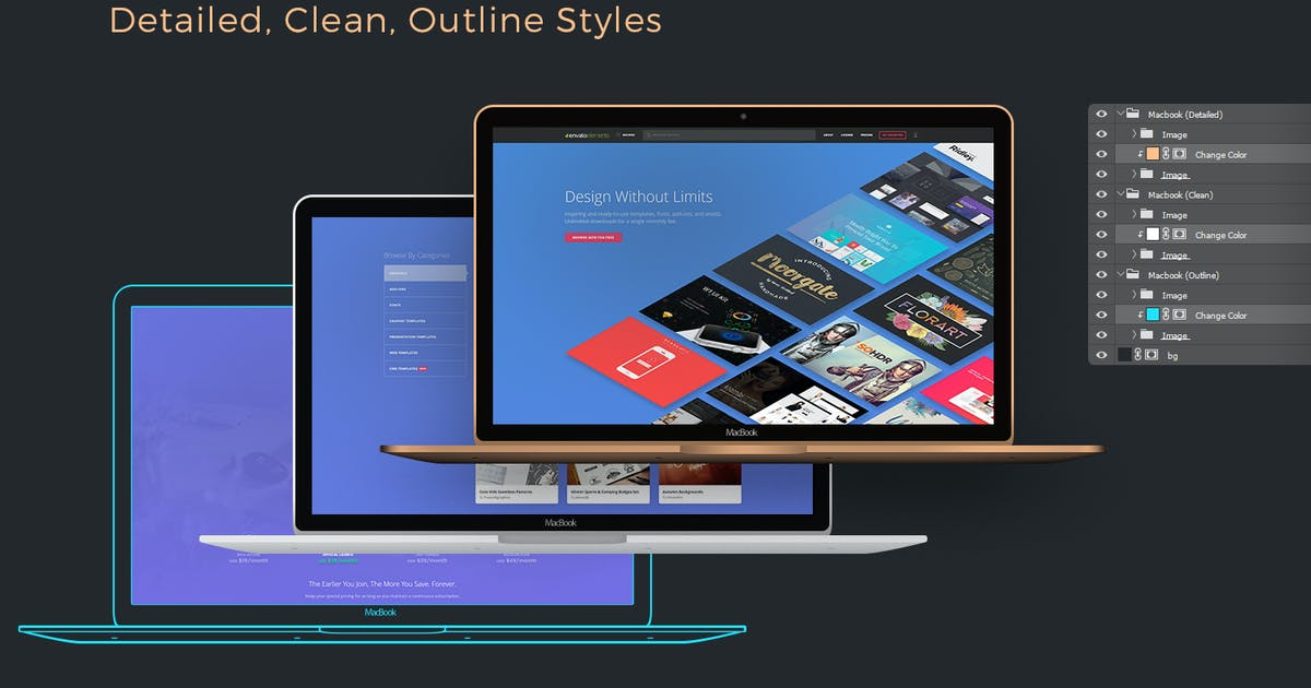 Download Flexible Macbook Mockups: Detailed, Clean, Outline by Stockware
