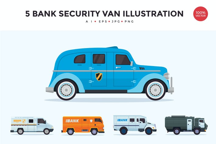 Thumbnail for 5 Bank Security Vehicle Vector Illustration Set