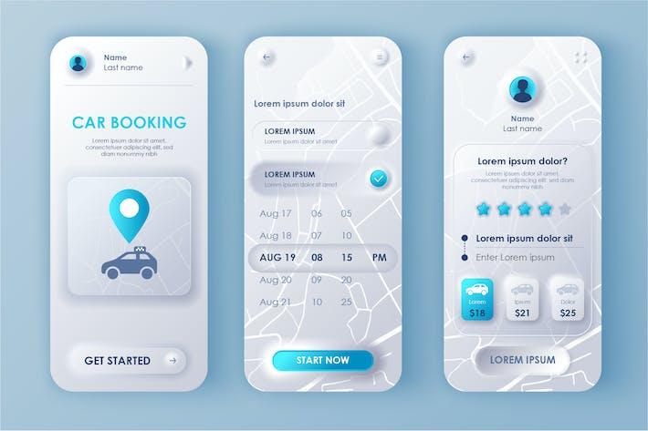 Thumbnail for Car Booking Neumorphic Mobile App UI Kit