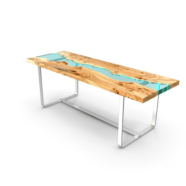 Wood table Embedded with Glass Rivers