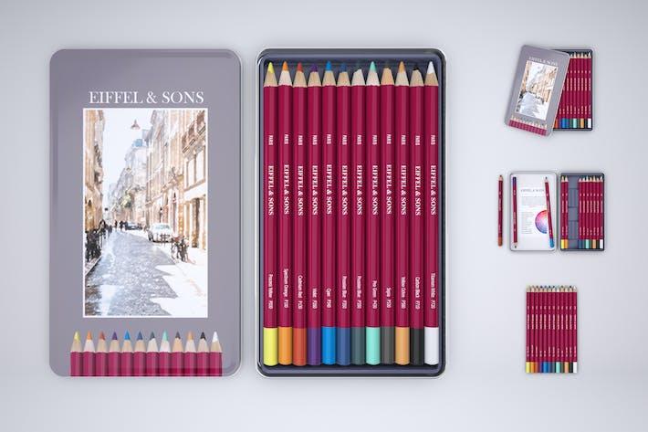 Boîte à crayons de couleur Maquette