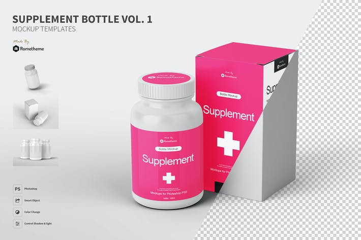 Cover Image For Supplement Bottle Mockup vol.1