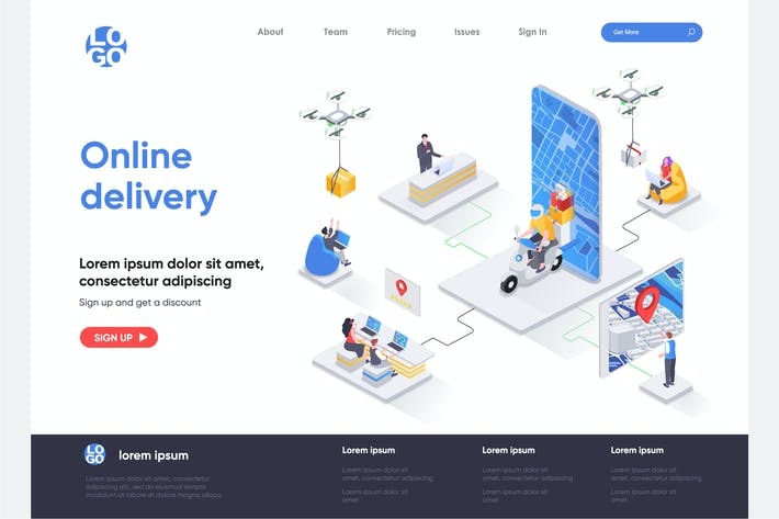 Online Delivery Isometric Landing Page Template