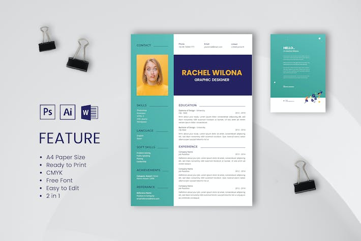 Thumbnail for Professional CV And Resume Template Wilona