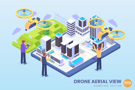 Isometric Drone Aerial View Concept