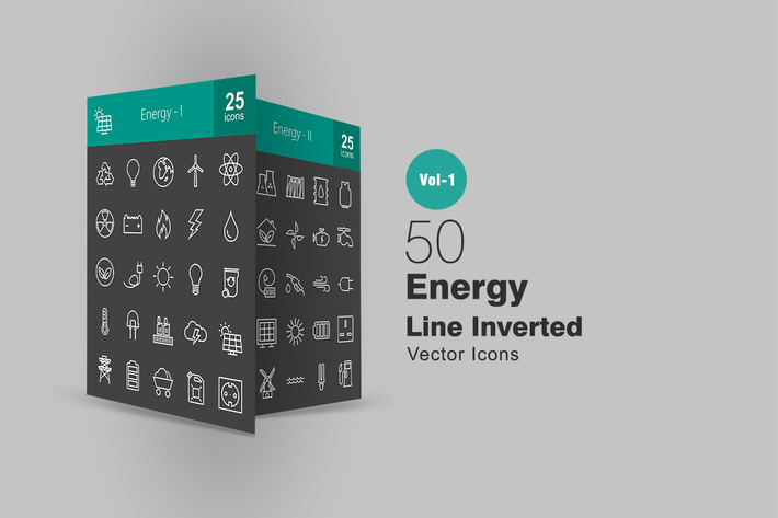 50 Energy Line Inverted Icons
