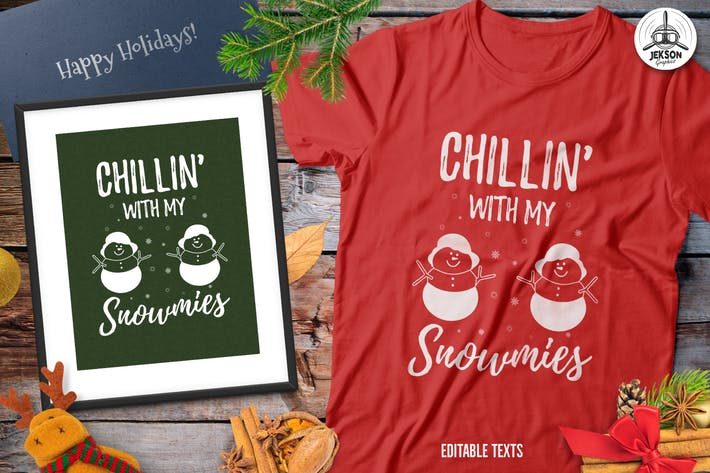 Christmas Snowman Sweater T-Shirt Xmas Retro Party