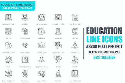 Einfaches Set Bildungs- und WissenszeilIcons
