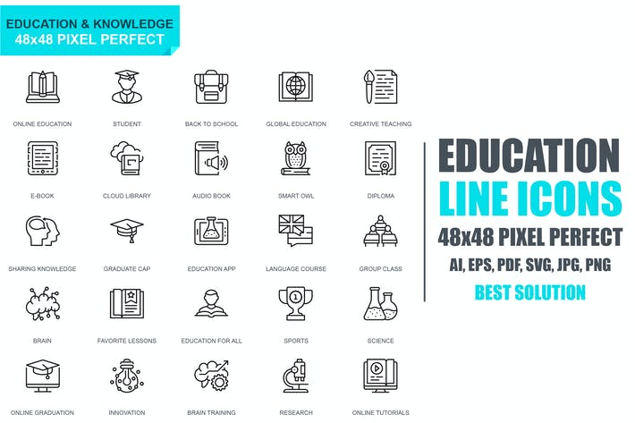 Cover Image For Simple Set Education and Knowledge Line Icons