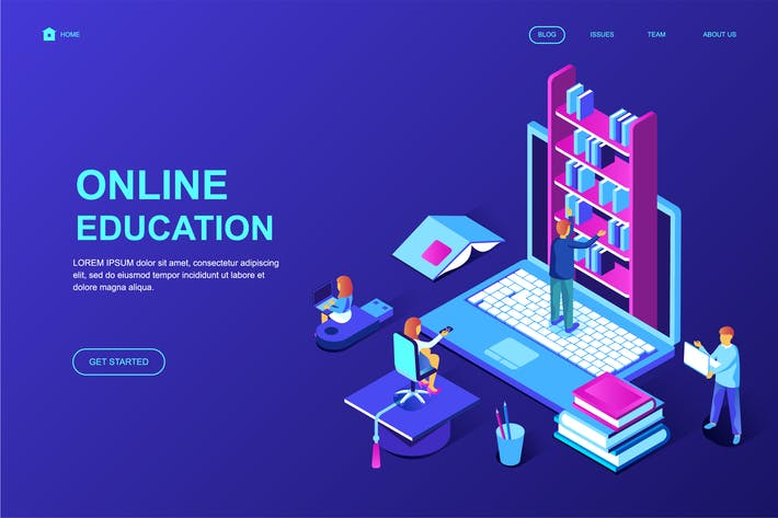 Thumbnail for Online Education Isometric Landing Page Template