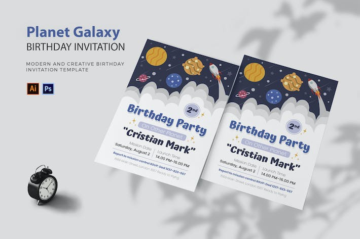 Thumbnail for Planet Galaxy - Birthday Invitation