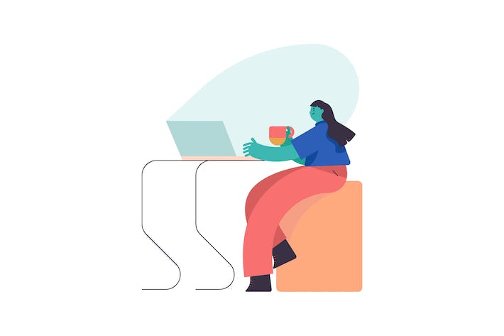 Thumbnail for Home Workspace Flat Illustration