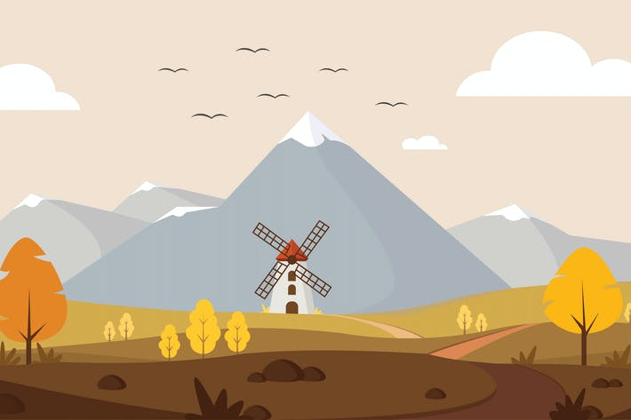 Thumbnail for Fields in the Mountains - Landscape Illustration