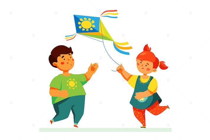 Thumbnail for Счастливые дети летают змеем - плоская иллюстрация
