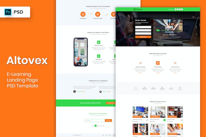 Thumbnail for E-Learning - Landing Page PSD Template