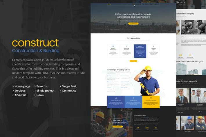 Thumbnail for Construct - Construction & Construction Modèle HTML5