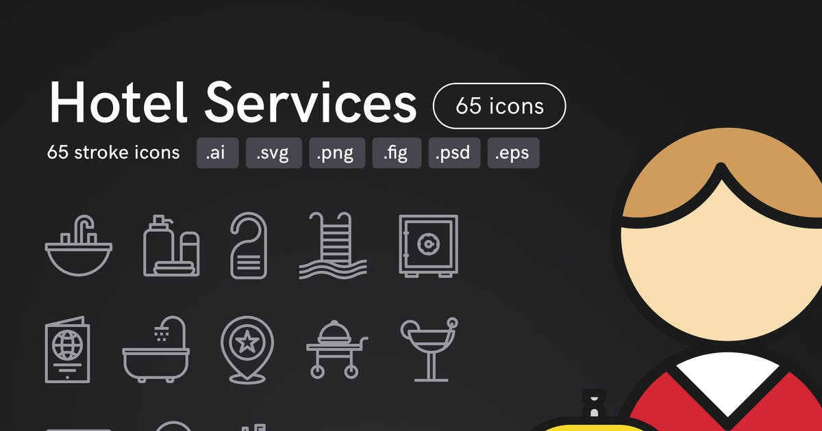 Download Hotel Services Icons (65 icons) by Middltone