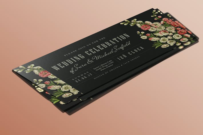 Thumbnail for Carte d'invitation de mariage Botanical Ticket