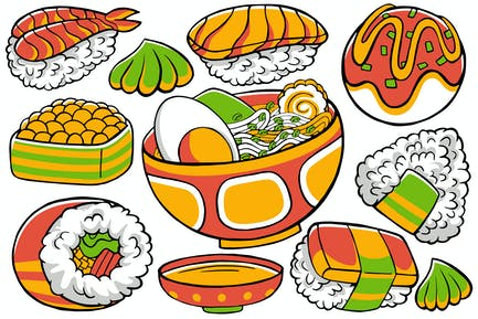 Japan Food Doodle Vector #01