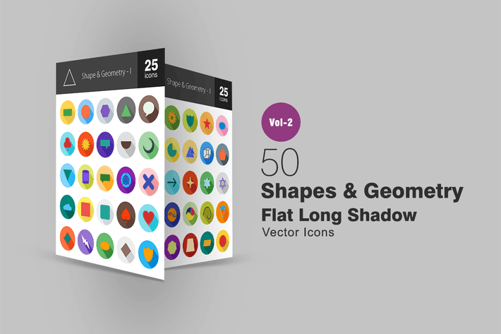 Thumbnail for 50 Shapes & Geometry Flat Long Shadow Icons