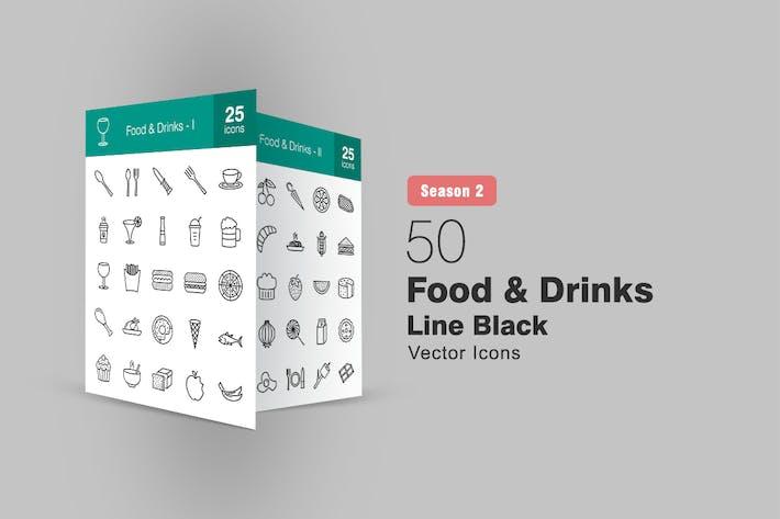 Thumbnail for 50 Food & Drinks Line Icons Season II
