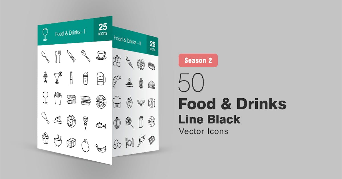 Download 50 Food & Drinks Line Icons Season II by IconBunny