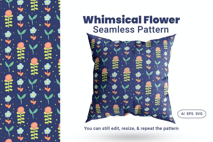 Thumbnail for Seamless Pattern Whimsical Flower