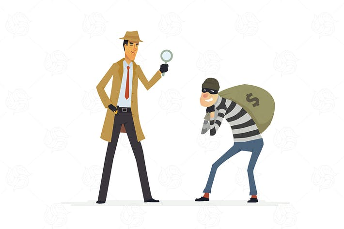 Thumbnail for Detective catching a thief - vector illustration