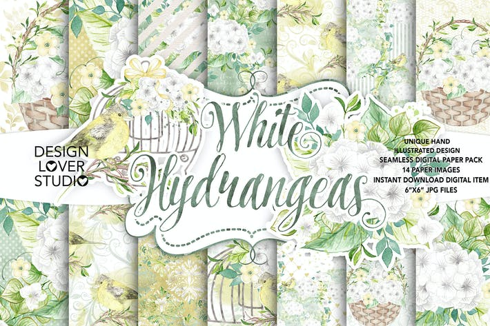 Thumbnail for Watercolor White Hydrangea digital paper pack