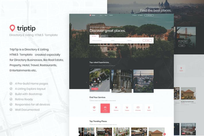 Thumbnail for TripTip - Listing & Directory HTML5 Template