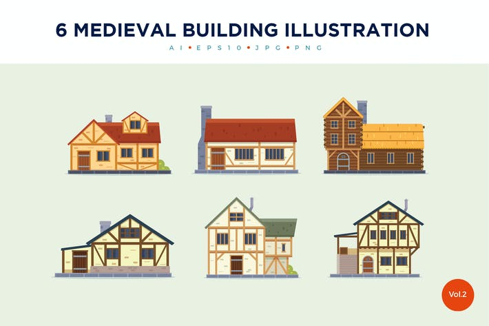 Thumbnail for 6 Vintage Medieval House Vector Illustration Set 2