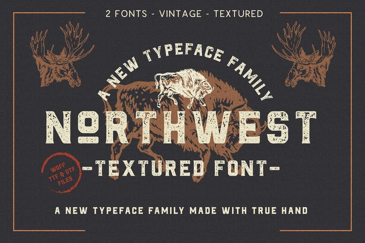 Thumbnail for The Northwest - Textured Vintage Type Family