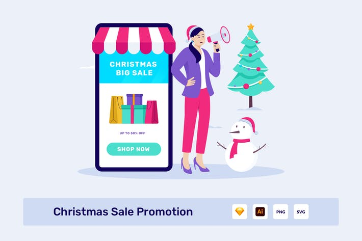 Thumbnail for Christmas Sale Promotion Header Illustration