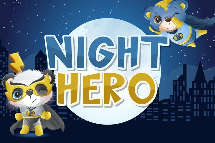 Thumbnail for Night Hero Display Font