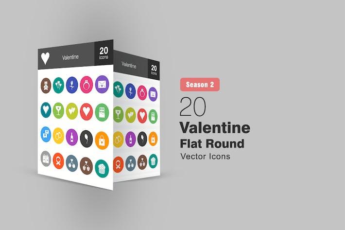 Thumbnail for 20 Valentine Flat Round Icons Season II