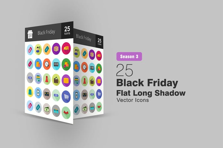 Thumbnail for 25 Black Friday Flat Long Shadow Icons
