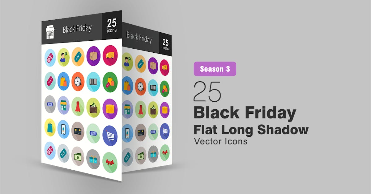 Download 25 Black Friday Flat Long Shadow Icons by IconBunny