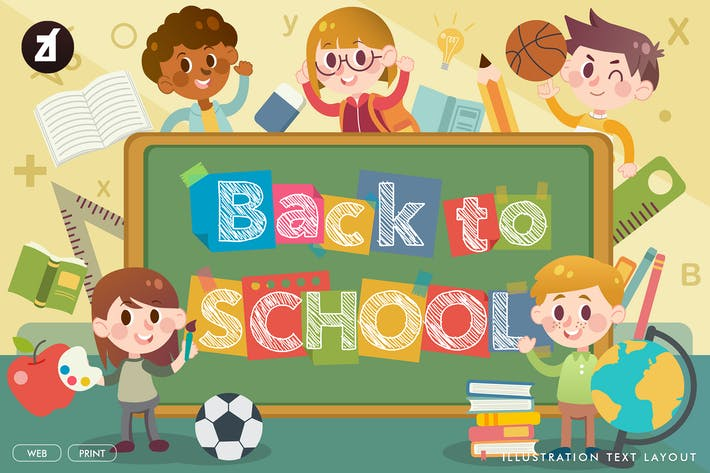 Thumbnail for Back to school illustration with copy space