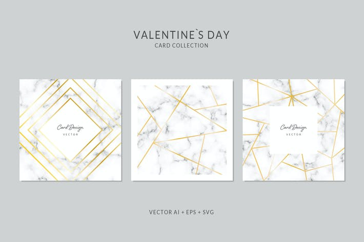 Thumbnail for Square Card Vector Set with Marble Background