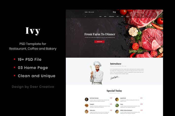 Cover Image For Ivy - Multipurpose Restaurant & Cafe PSD Template