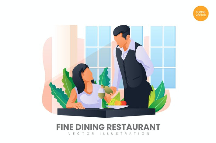 Thumbnail for Fine Dining Restaurant Vektor Illustration Konzept