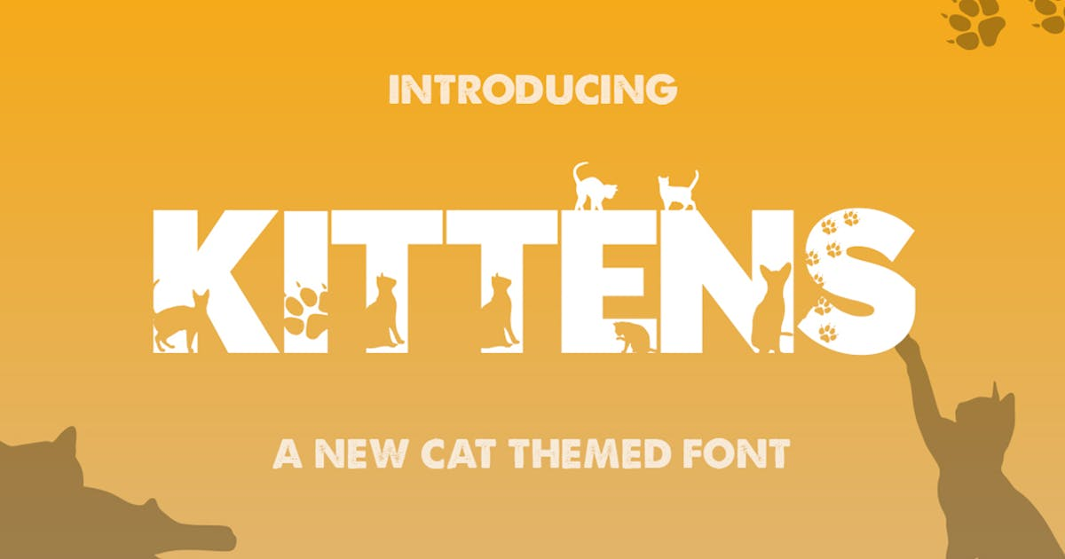 Download Kittens Silhouette Font by maroonbaboon
