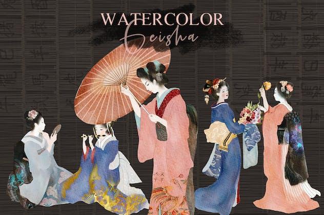 Watercolor Geisha - japanese illustrations set