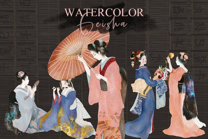 Thumbnail for Watercolor Geisha - japanese illustrations set