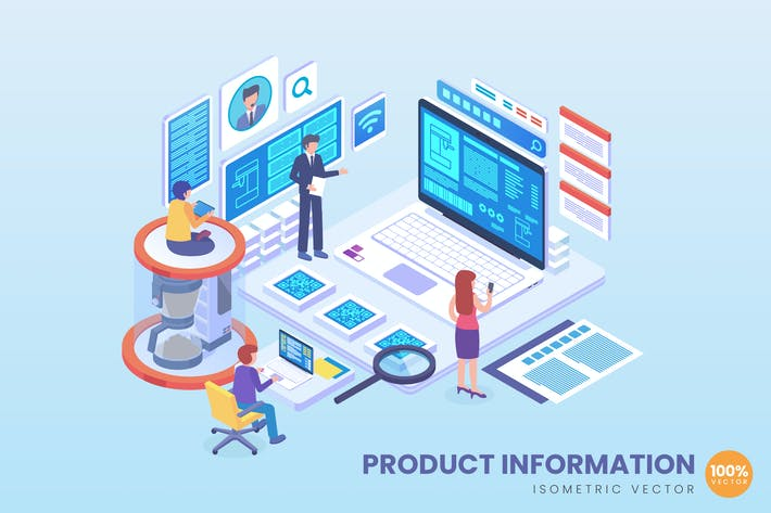 Thumbnail for Isometric Product Information Vector Concept