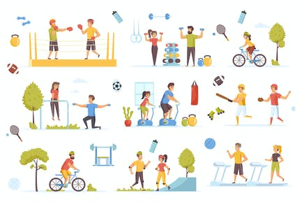 Sports Activities Flat Scene Creator Kit