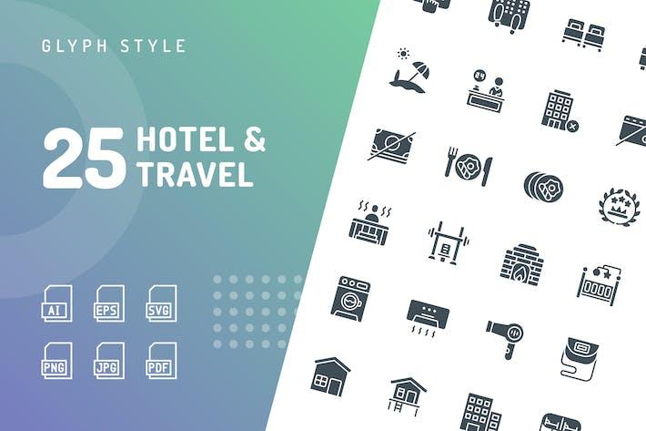 Отель & Путешествия Глиф Иконки